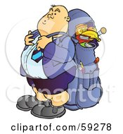 Royalty Free RF Clipart Illustration Of A Chubby High School Boy With A Big Back Pack by Snowy