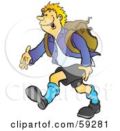 Royalty Free RF Clipart Illustration Of A High School Boy Walking And Wearing A Backpack by Snowy