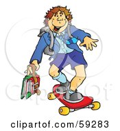 Royalty Free RF Clipart Illustration Of A Teen High School Boy Skateboarding by Snowy