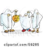 Royalty Free RF Clipart Illustration Of A Group Of Halloween Ghosts With A Pumpkin by Snowy