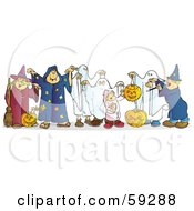 Royalty Free RF Clipart Illustration Of A Group Of Halloween Children In Witch Wizard And Ghost Costumes by Snowy