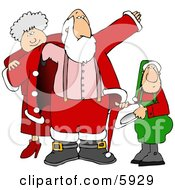 Mrs Clause And An Elf Helping Santa Get Dressed For Christmas Clipart Picture