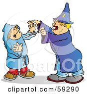 Royalty Free RF Clipart Illustration Of A Halloween Wizard Playing A Trick On A Kid by Snowy