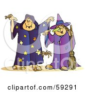 Royalty Free RF Clipart Illustration Of A Halloween Witch And Wizard With A Spider by Snowy