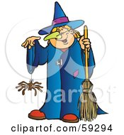 Royalty Free RF Clipart Illustration Of A Halloween Witch With A Spider Dangling From Her Hand by Snowy