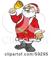 Royalty Free RF Clipart Illustration Of Santa Singing And Ringing A Charity Bell by Snowy