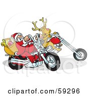 Royalty Free RF Clipart Illustration Of Rudolph And Santa Riding Motorcycles