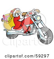 Santa With His Toy Sack Riding A Chopper Motorcycle