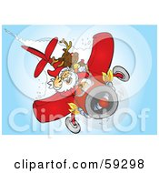 Royalty Free RF Clipart Illustration Of Santa And Rudolph Flying A Plane by Snowy
