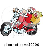 Royalty Free RF Clipart Illustration Of Santa With His Toy Sack Riding A Motorcycle by Snowy