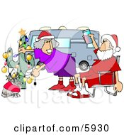 Mr And Mrs Clause Celebrating Christmas On The Road With Their Dog Clipart Picture