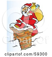 Santa Carrying His Sack And Climbing Into A Chimney