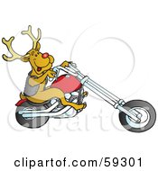 Royalty Free RF Clipart Illustration Of Rodolph The Red Nosed Reindeer Riding A Motorcycle