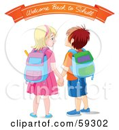 Royalty Free RF Clipart Illustration Of A Brother And Sister Holding Hands Wearing Backpacks And Standing Under A Welcome Back To School Banner