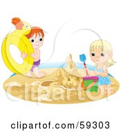 Royalty Free RF Clipart Illustration Of A Brother And Sister Playing With An Inner Tube And Making A Sand Castle On A Beach by Pushkin