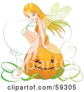 Royalty Free RF Clipart Illustration Of A Pretty Autumn Fairy Sitting On A Halloween Pumpkin by Pushkin
