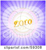 Royalty Free RF Clipart Illustration Of A 3d 2010 Over A Purple Bursting Background by MacX