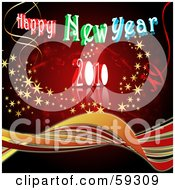 Royalty Free RF Clipart Illustration Of A Red Happy New Year 2010 Background With Waves Streamers And Stars by MacX