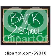 Royalty Free RF Clipart Illustration Of A Back 2 School Message Written In Chalk On A Green Board