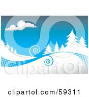 Royalty Free RF Clipart Illustration Of A Winter Background With Swirls Between Evergreens Flocked In Snow Under A Blue Sky