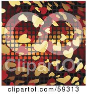Royalty Free RF Clipart Illustration Of A Floating Gold And Red Heart Background With Cubes by MacX