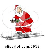 Santa Skiing On Snow Clipart Picture