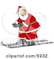 Santa Skiing On Snow
