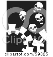 Royalty Free RF Clipart Illustration Of White Skulls And Gears On Black by xunantunich