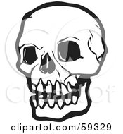 Royalty Free RF Clipart Illustration Of A White Human Skull With Dark Eye Sockets by xunantunich