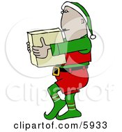 Elf Carrying A Christmas Toy In A Box Clipart Picture