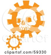 Orange Human Skull Head Over A Gear