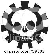Creepy White Skull Over A Gear - Version 3