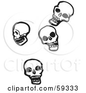 Royalty Free RF Clipart Illustration Of Four Falling Human Skulls by xunantunich