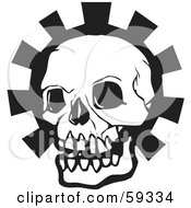 Royalty Free RF Clipart Illustration Of A Black Human Skull Head Over A Gear by xunantunich