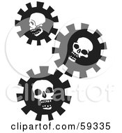 Three Black And White Skull Gears