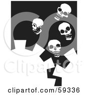 Royalty Free RF Clipart Illustration Of White Cogs And Four Skulls On Black by xunantunich