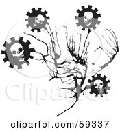 Royalty Free RF Clipart Illustration Of A Branch With Evil Skull Cog Flowers by xunantunich