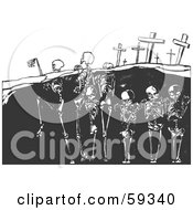 Royalty Free RF Clipart Illustration Of Upright Skeletons Standing In Their Graves by xunantunich