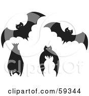 Digital Collage Of Four Black Bats