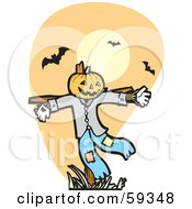 Scare Crow With A Pumpkin Head Under Vampire Bats