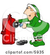 Santas Elf Building A Radio Flyer Wagon Toy Clipart Picture by djart
