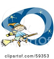 Royalty Free RF Clipart Illustration Of A Cute Halloween Witch Flying In Front Of Stars And A Full Moon