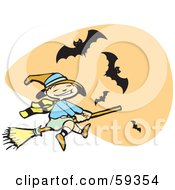 Royalty Free RF Clipart Illustration Of A Cute Halloween Witch Flying In Front Of An Orange Sky With Bats