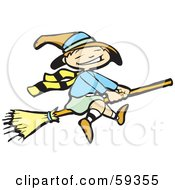 Royalty Free RF Clipart Illustration Of A Cute Little Halloween Witch Flying On A Broom