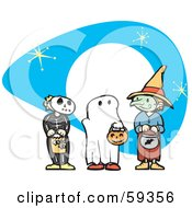 Royalty Free RF Clipart Illustration Of Halloween Children In Skeleton Ghost And Witch Costumes Trick Or Treating by xunantunich