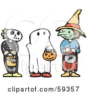 Royalty Free RF Clipart Illustration Of Trick Or Treating Halloween Children In Skeleton Ghost And Witch Costumes