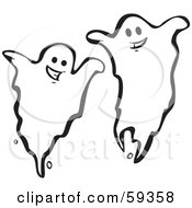 Royalty Free RF Clipart Illustration Of Two Haunting Ghosts