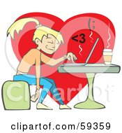 Royalty Free RF Clipart Illustration Of A College Girl Chatting With Her Boyfriend Online