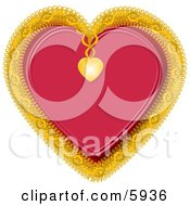 Red Heart Decorated With Gold Trim Clipart Picture by djart