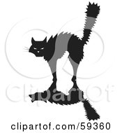 Royalty Free RF Clipart Illustration Of A Scared Silhouetted Cat Arching Its Back